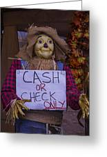 Scarecrow Holding Sign Greeting Card