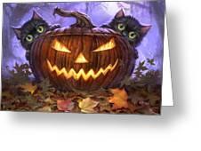 Scaredy Cats Greeting Card by Jeff Haynie