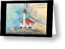 Scarlett Pt Lighthouse Bc Canada Chart Art Greeting Card