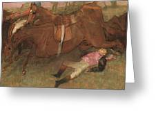 Scene From The Steeplechase The Fallen Jockey Greeting Card