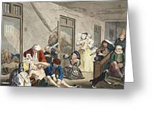 Scene In Bedlam, Plate Viii, From A Greeting Card by William Hogarth