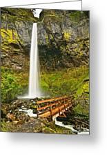 Scenic Elowah Falls In The Columbia River Gorge In Oregon Greeting Card