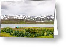 Scenic Landscape In Northern Iceland. Greeting Card