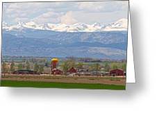 Scenic View Looking Over Anderson Farms Up To Rockies Greeting Card