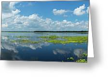 Scenic View Of A Lake Against Cloudy Greeting Card