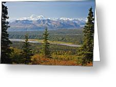 Scenic View Of Alaska Range And Greeting Card
