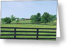 Scenic View Of Horse Farm, Woodford Greeting Card