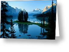 Scenic View Of Maligne Lake In Jasper Greeting Card