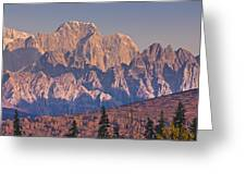 Scenic View Of Sunrise On Mooses Tooth Greeting Card