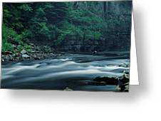 Scenic View Of Waterfall, Teesdale Greeting Card