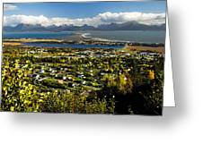 Scenic View Overlooking The Town Of Greeting Card