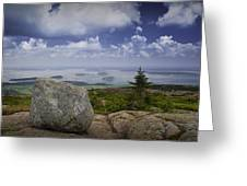 Scenic View With Boulder On Top Of Cadilac Mountain Greeting Card