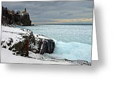 Scenic Winter Lighthouse Greeting Card