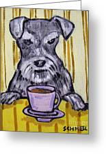 Schnauzer At The Coffee Shop Greeting Card by Jay  Schmetz