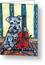 Schnauzer Playing Cello Greeting Card by Jay  Schmetz