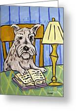 Schnauzer Reading A Book Greeting Card by Jay  Schmetz