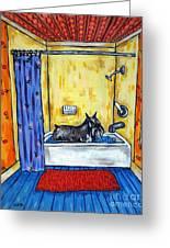 Schnauzer Taking A Bath Greeting Card by Jay  Schmetz