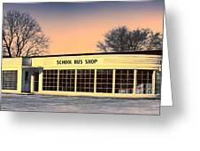 School Bus Repair Shop Greeting Card