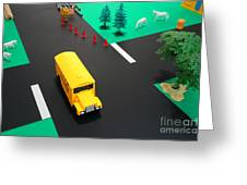 School Bus School Greeting Card by Olivier Le Queinec