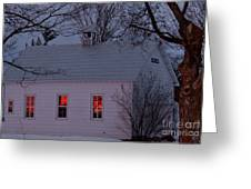 School House Sunset Greeting Card