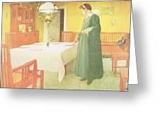 School Household, Dining Room Scene Greeting Card