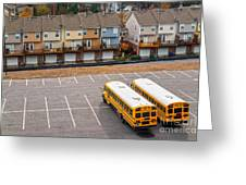 Schoolbuses And Colorful Houses - Atlanta - Georgia Greeting Card
