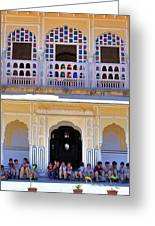 Schoolchildren At The Women's Palace - Jaipur India Greeting Card