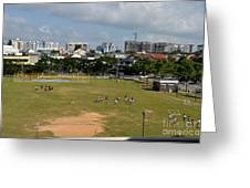 Schoolchildren Practicing On Playing Field With Singapore Skyline In Background Greeting Card