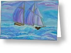 Schooner On The High Seas Greeting Card