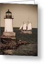 Schooner Sailing Into Harbor Greeting Card
