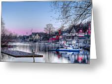 Schuylkill River And Boathouse Row Philadelphia Greeting Card by Bill Cannon