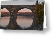 Schuylkill River Railroad Bridge In Autumn Greeting Card