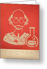 Scientist On Red Background,poster Greeting Card