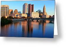 Scioto River And Columbus Ohio Skyline Greeting Card