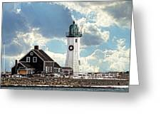 Scituate Lighthouse In Winter Greeting Card