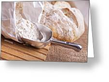 Scoop Of Flour And Fresh Bread Greeting Card