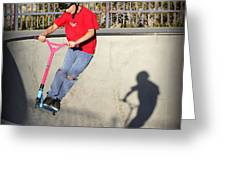 Scooter Flying Greeting Card