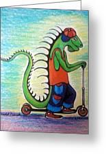 Scooter Iguana Greeting Card