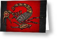 Scorpion On Red And Black Leather Greeting Card