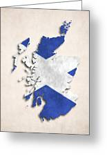 Scotland Map Art With Flag Design Greeting Card