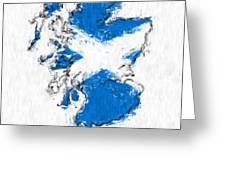 Scotland Painted Flag Map Greeting Card