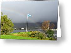 Scottish Flag With A Rainbow Greeting Card