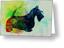 Scottish Terrier Watercolor Greeting Card by Naxart Studio