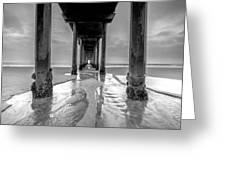 Scripps Pier Black And White Greeting Card