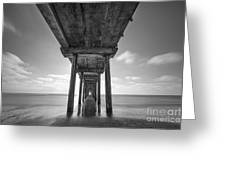 Scripps Pier La Jolla Long Exposure Bw Greeting Card