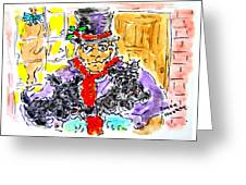 Scrooge And Scotties Greeting Card