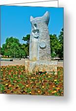 Sculpture And Flowers In Antalya Park Along Mediterranean Coast-turkey  Greeting Card