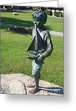 Sculpture - Boy With Sailboat Greeting Card