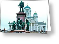 Sculpture Of Alexander II In Cathedral Of Helsinki-finland Greeting Card