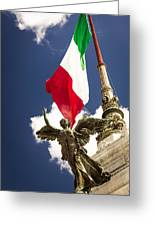 Sculpture Of Angel On The Background Of The Italian Flag Greeting Card